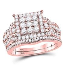 14kt Rose Gold Round Diamond Vintage-inspired Bridal Wedding Ring Set 1.00 Ctw - $1,566.20