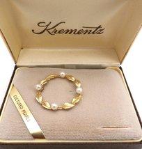 Vintage Krementz 14K Gold Overlay & Genuine Pearls Brooch In Box 1960s - $39.00