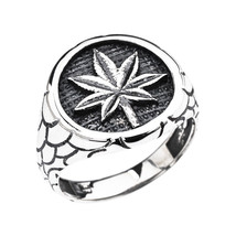 Men's Sterling Silver Marijuana Leaf Cannabis Nugget Band Ring - £43.03 GBP