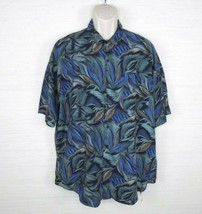 Vintage Triumph of California Men's Button Down Camp Shirt Blue Green XL - $23.85