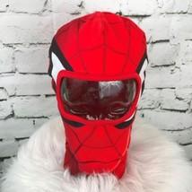 Marvel Spiderman Boys One Sz Hat Red Face Gaurd Mask Stretch Knit Beanie... - $19.79