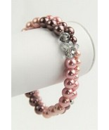 VINTAGE ESTATE Jewelry LOT OF 2 FX PINK PEARL & GLASS CRYSTAL STRETCH BR... - $25.00