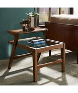 Mid Century Modern Retro Wood 2 Level Accent End Side Table with Glass T... - $386.62
