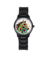 Men's Day Of The Dead Horse Stainless Steel Round Watch - $21.99