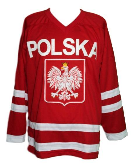 Custom polska poland retro hockey jersey red   1