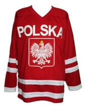 Any Name Number Polska Poland Retro Hockey Jersey Red Dzarnowski Any Size image 1
