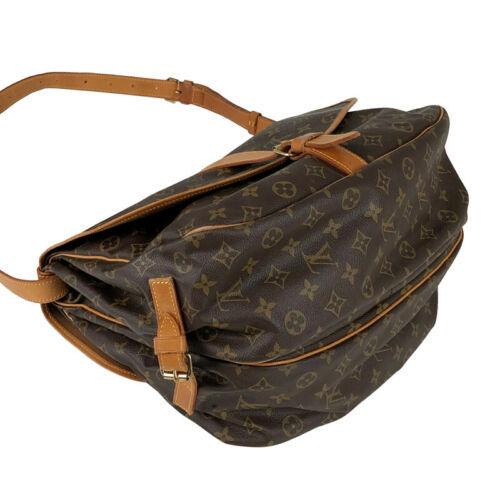Auth Louis Vuitton Monogram Shoulder Bag Brown Leather Pockets Logo LVB0622
