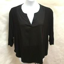 Calvin Klein 2X Top Black Contrast Front Hi Lo 3/4 Sleeve Plus Size Shirt - $23.50