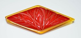Bakelite Tested Apple Juice Translucent Cherry Red Carved Brooch Pin - $99.00
