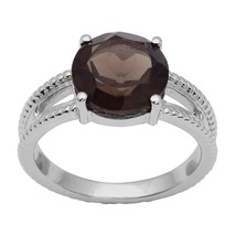 3.35 Ct Smoky Wonderful Shiny Gemstone 925 Sterling Silver Ring Sz 9 SHR... - £18.88 GBP