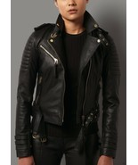 Vintage Arts New Women's Black Biker Motorcycle Cafe Quilted Pure Leathe... - $189.00