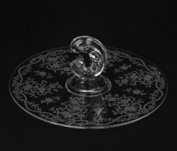 Vintage Fostoria Romance Etched Elegant Glass Sandwich Tidbit Plate - $42.11