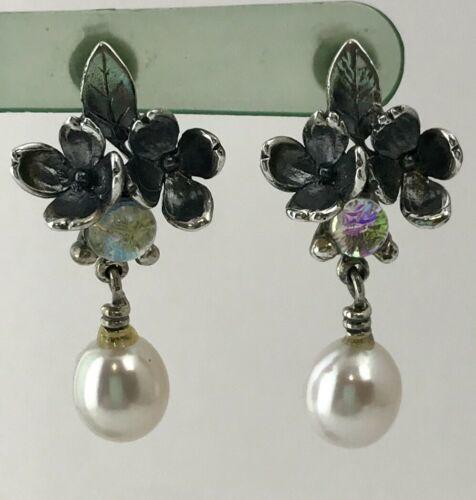 Authentic Trollbeads Sterling Silver Flowers Dangle Pierced Earrings 56102 - $94.99