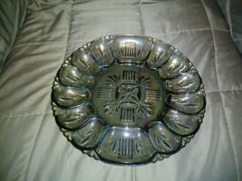 Hobnail Green Carnival Glass Deviled Egg Plate Rainbow Iridescent  - $30.69