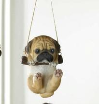 Pug Puppy on Log Swing Hanging Figurine Indoor or Garden Patio Decor - $25.49