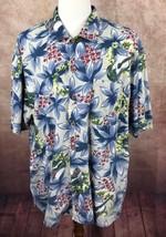 Tommy Bahama Hawaiian Floral Button Front Short Sleeve Blue Shirt Men's XL - $21.57