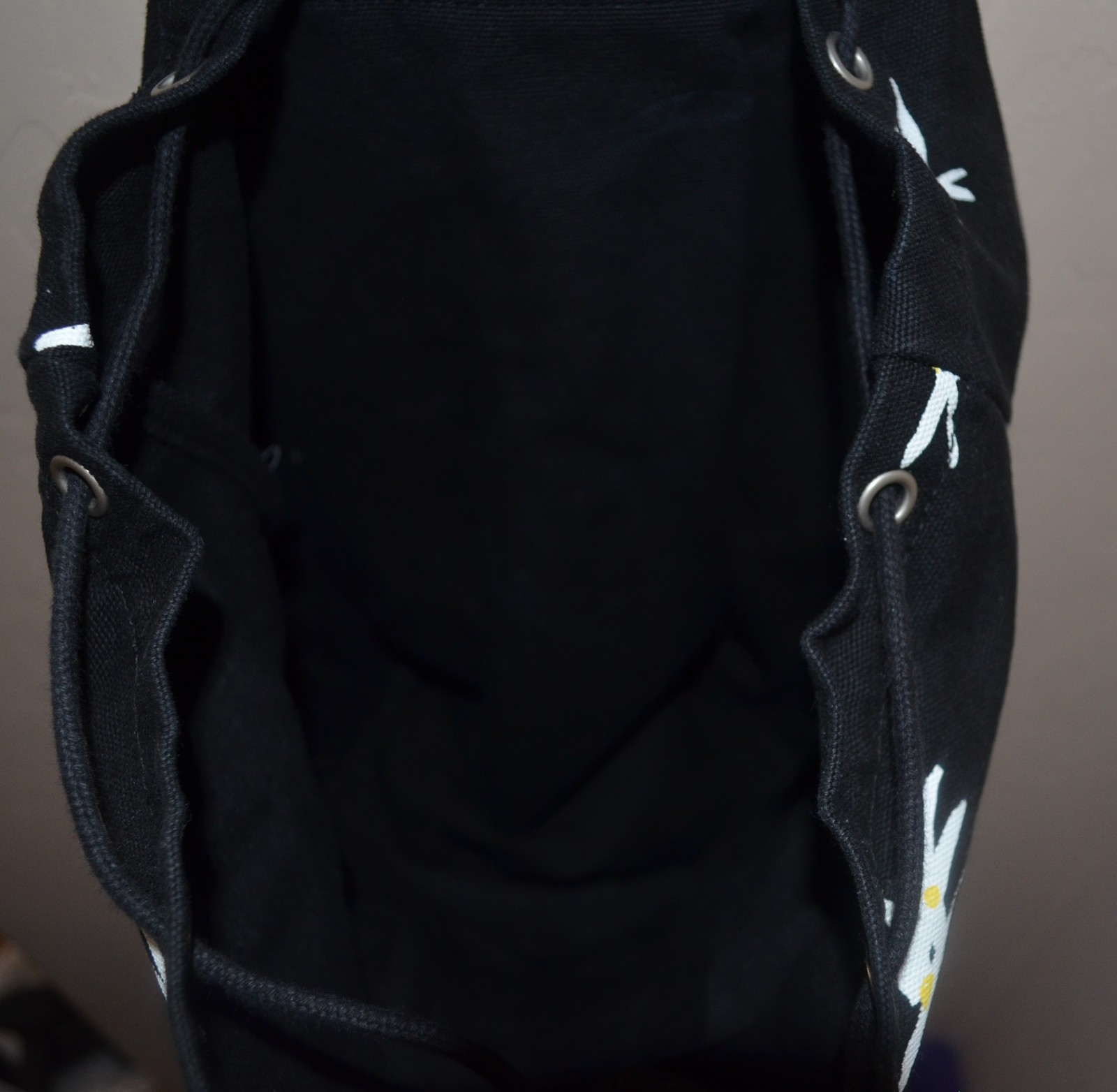 Baggu Recycled Canvas Drawstring Flap Black Floral Sack Backpack  image 8
