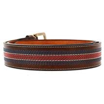Tommy Hilfiger Men's 35MM Center Stripe Stitch Leather Belt Brown 11TL02X057 image 8