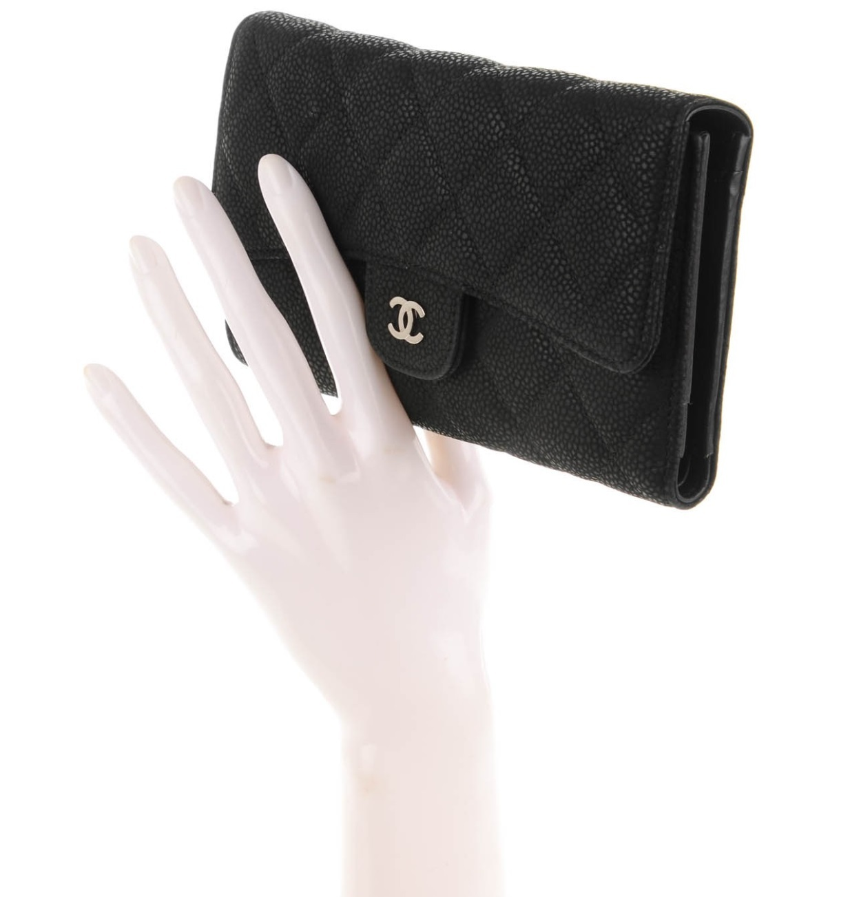 AUTH CHANEL BLACK IRIDESCENT QUILTED CAVIAR LARGE FLAP TRI-FOLD CLUTCH WALLET