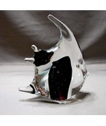Black-and-Clear Art Glass Angel Fish Figurine Bubble Controls  - $4.99