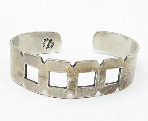 MEXICO 925 Silver - Vintage Cutout Square Design Smooth Cuff Bracelet - B5501