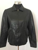 Vintage 90s Gap Womens Moto Jacket M Medium Black Leather Zip Front Moto... - $49.49