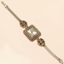 Real Sapphire White Topaz Wrist Watch 925 Sterling Silver Women Wedding ... - $40.35