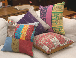"10 Vintage Kantha Quilt Cushion covers pillows handmade 18"" India CU-14 - $80.75"