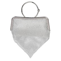 Silver Multirhinestone secuence drop evening clutch with chain  - £38.05 GBP