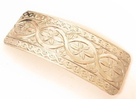 "Large Vintage Silver Plated Floral Design Hair Barrette Clip*3-7/8""x1-1/... - $17.77"