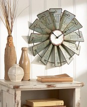 Oversized Metal Wall Clock Vintage Large Rustic Art Windmill Country Wal... - $29.57