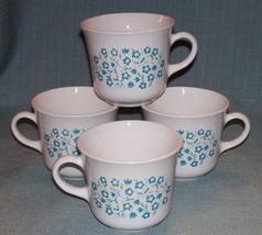 Vintage CORELLE Corning BLUE HEATHER Cups Mugs -Set 4- Blue Flowers /Flo... - $9.95