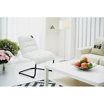 Luxury Padded Lounger Chair Comfortable White Sherpa Soft Cushion - $124.95
