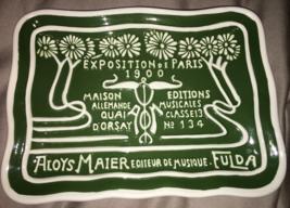 "Exposition de Paris decorative tray plate green measures 8""x6"""