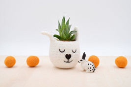 Succulent planter /spring bunny/White Rabbit planter/Felt planter/indoor... - $24.00