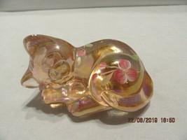 FENTON ART GLASS 2004 SUNSET STRETCH HP CAT (KITTEN) FIGURINE~SIGNED J. ... - $34.99
