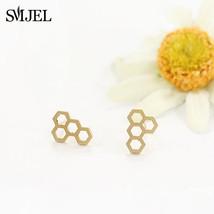 Fashion Jewelry Hexagon Women Stud Earrings Tiny Geometry Modern Jelly Honeycomb - $7.99
