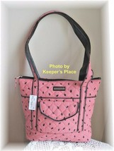 Longaberger Bag WATERMELON SEEDS Pink Black Faux Leather Trim Quilted Ne... - $26.00