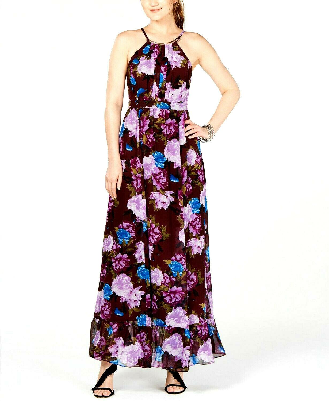 INC International Concepts Women's Purple Floral-Print Maxi Dress Size 8 $119