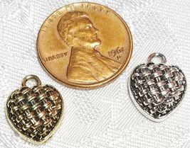 HEART BASKET WEAVE DESIGN FINE PEWTER PENDANT CHARM - 11mm L x 15mm W x 5mm D image 3