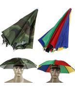 55cm Umbrella Hat Sun Shade Camping Fishing Hiking Festivals Outdoor Han... - $5.37