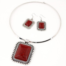 Type red Jewelry Sets For Women Silver Color African Resin Stone Beads J... - $19.67