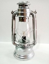 Electric Vintage Stable Silver Lantern Lamp with Blown Glass Chimney - £28.78 GBP