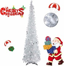Collapsible Christmas Trees 6 Foot Artificial Tinsel Xmas Tree, Pop Up - $62.99