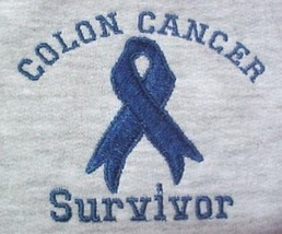 Colon Cancer Sweatshirt L Blue Ribbon SURVIVOR Gray Awareness Unisex New - $25.45