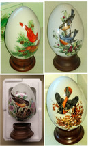 Bird Artwork Four Seasons Porcelain Eggs Avon 1984 Set of 4 w Stands & B... - $43.99