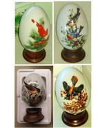 Bird Artwork Four Seasons Porcelain Eggs Avon 1984 Set of 4 w Stands & B... - $43.99
