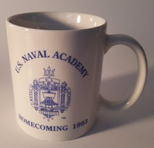 US Naval Academy Homecoming 1993 Blue & White Coffee Mug w/ Logo ! - $5.22