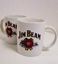 Two Jim Beam Coffee Mugs, Large Handles, Red Whisky Logo on Both Sides - $19.99