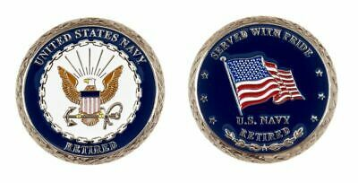 """NAVY RETIRED SERVED WITH PRIDE  1.75"""" CHALLENGE COIN"""